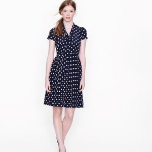 NWT J. Crew Silk Polka Dot Tie Neck Dress